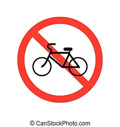 No bicycle, bike prohibited symbol. Sign indicating the...