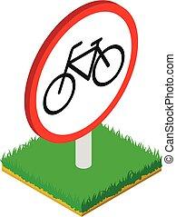 No bicycle icon, isometric style