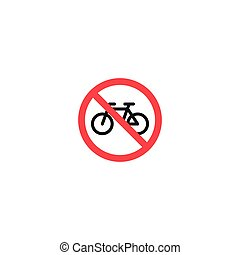 No bicycle roadsign isolated on white background
