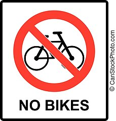 No bicycle sign No bikes symbol for public places Warning Vector illustration