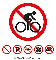 No bicycle sign on white background.