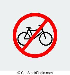 No Bicycle Sign. Vector Illustration