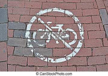 no bike sign on red brick, modern security