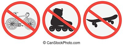 no bikes ride - No bikes, ride, roller, allowed, sign
