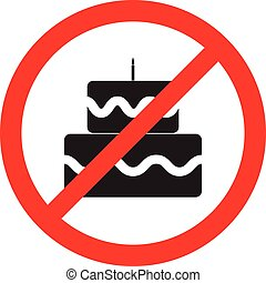 No birthday cake flat icon vector. Red prohibition sign. It is forbidden sweet desert. health concept illustration