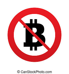 No Bitcoin sign icon. Cryptography currency symbol. P2P. Red...