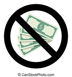 No bribery symbol. Illegal banknote bribing, ban corrupt and...