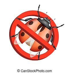 Anti Bedbug Sign Anti Parasite Sign With A Funny Cartoon Bedbug