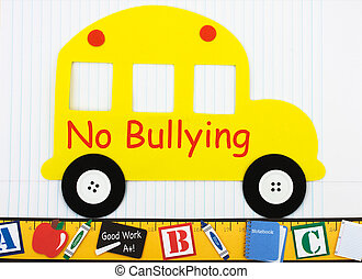 No bullying allowed - A school bus on lined paper with words...
