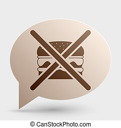No burger sign. Brown gradient icon on bubble with shadow.
