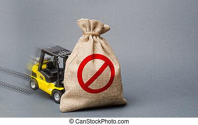 no., business., comércio, econômico, restrição, amarela, bens, proprietário, forklift, sanctions., não, saco, importation, caminhão, pressão, guerras, símbolo, lata, stagnation., elevador