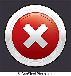 No button. Cancel icon. Red round sticker.