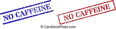 NO CAFFEINE Grunge Scratched Stamp Seals with Rectangle Frame