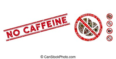 No Caffeine Mosaic and Scratched No Caffeine Stamp with Lines