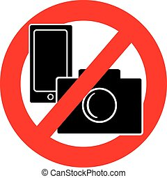 No camera and mobile phone symbol on white background....