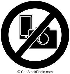 No camera and mobile phone symbol on white background