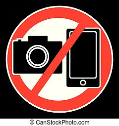 No camera and mobile symbol isolated on black background
