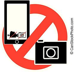 No camera and mobile symbol isolated on white background.