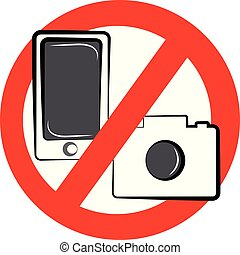 No camera and mobile symbol on white background. Vector illustration.