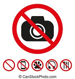 No camera sign on white background. Vector illustration
