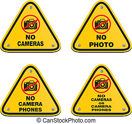 no cameras or camera phones signs - suitable for warning...