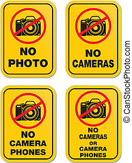 no cameras sign - yellow sign - suitable for warning signs