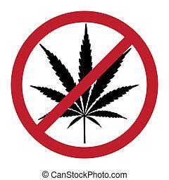 No cannabis, drugs free, symbolic illustration