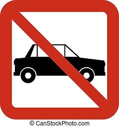 No car sign on white background. Vector illustration.