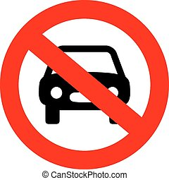 No car sign on white background