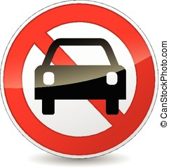 no car sign - illustration of no car sign on white...