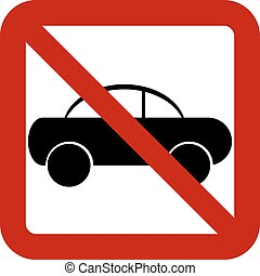 No car sign on white background. Vector illustration.