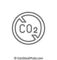 No carbon emissions, co2 emissions sign line icon.