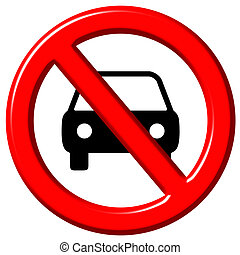 No cars allowed 3d sign isolated in white