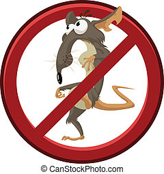 No cartoon rat - Vector image of sign with cartoon funny rat