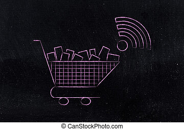 shopping cart with wi-fi symbol