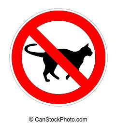 No cat forbidden sign, red prohibition symbol