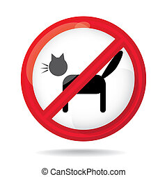 No cats sign, do not allowed, illustration