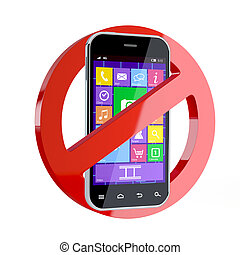 3d render of no cell phone sign isolated on white background