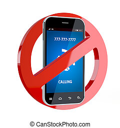 No cell phone sign - 3d render of no cell phone sign ...