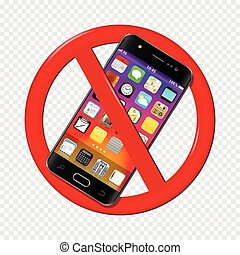 No cell phone sign isolated on transparent background....