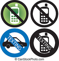 No Cell Phone Sign - Vector Illustration of four No Cell...