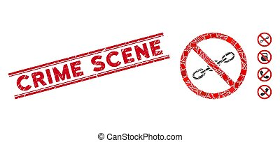 No Chain Mosaic and Distress Crime Scene Seal with Lines