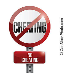 no cheating road sign illustration design