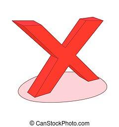 No check mark icon, cartoon style