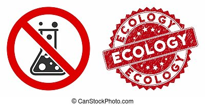 No Chemical Reaction Icon with Textured Ecology Stamp