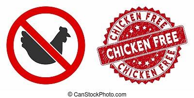 No Chicken Icon with Textured Chicken Free Seal