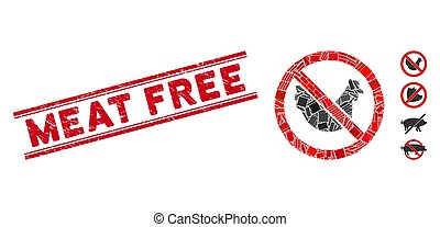 No Chicken Mosaic and Distress Meat Free Seal with Lines