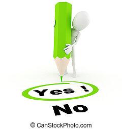 no, chooseing, entre, sí hombre, 3d