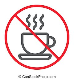 No coffee cup line icon, prohibition and forbidden, no tea sign vector graphics, a linear pattern on a white background, eps 10.