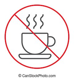 No coffee cup thn line icon, prohibition and forbidden, no tea sign vector graphics, a linear pattern on a white background, eps 10.